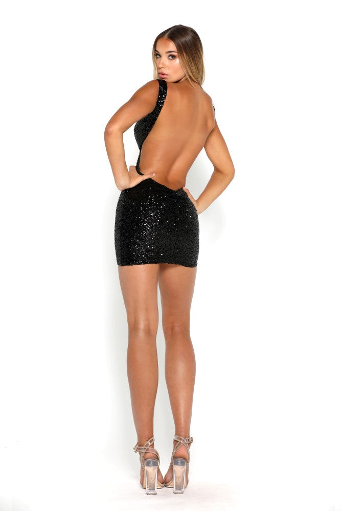 portia and scarlett danny sexy cut out black sequin backless mini dress back