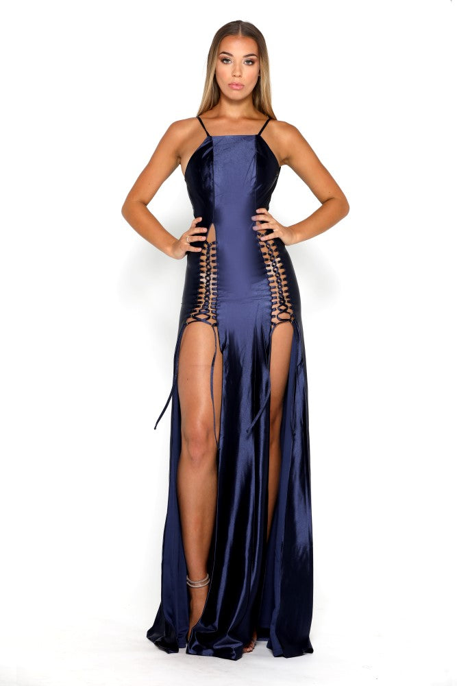 Portia and Scarlett Chantel Navy Blue Super Sexy Prom Gown
