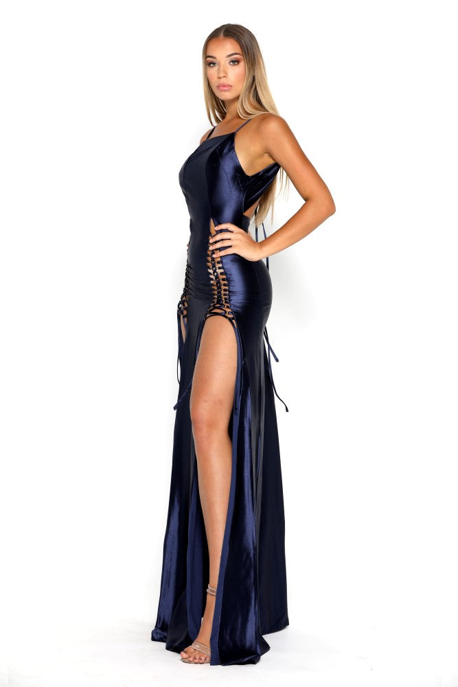 Portia and Scarlett Chantel Navy Blue Super Sexy formal gown