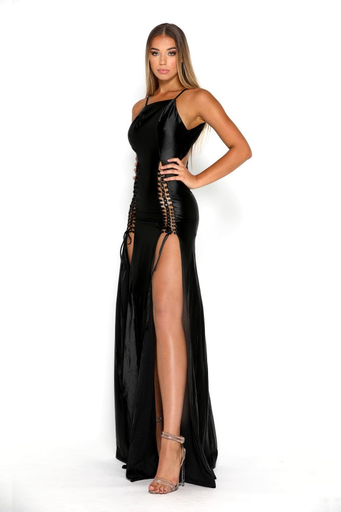 Portia & Scarlett Chantel Black super sexy prom dress