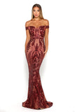 Portia & Scarlett Countess Ruby Red Sequin Strapless Evening Gown