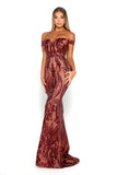 Portia & Scarlett Countess Ruby Red Sequin Strapless formal Gown bardot off the shoulder sleeves