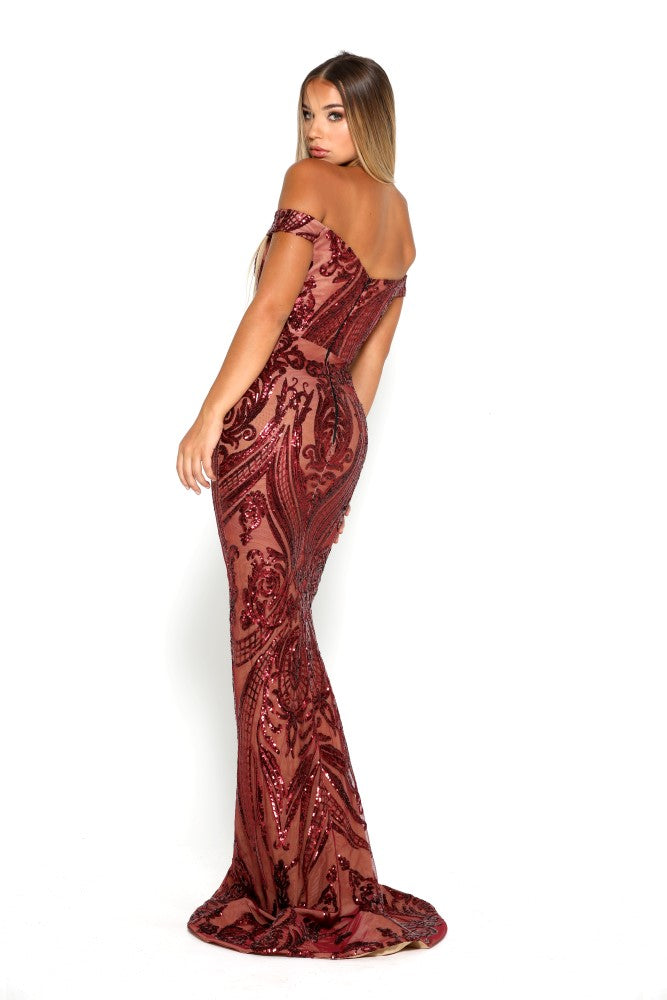 Portia & Scarlett Countess Ruby Red Sequin Strapless Evening Gown ...