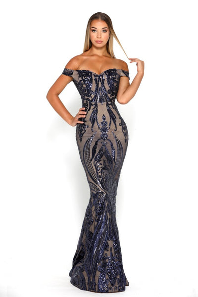 Portia & Scarlett Countess Navy Blue Sequin Strapless Evening Gown
