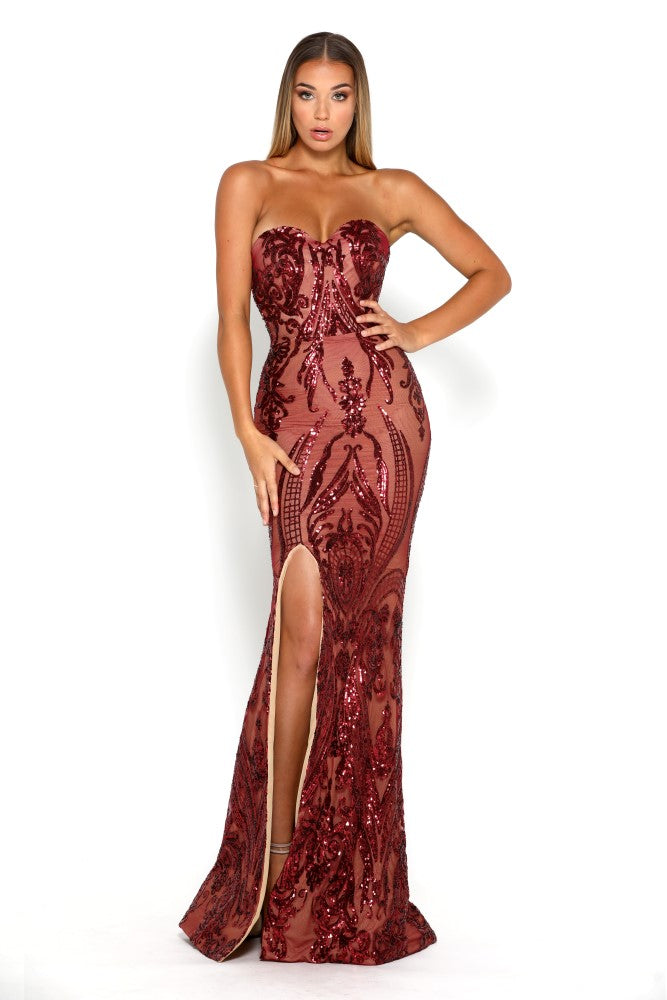 Portia & Scarlett Ruby Red 1755 Sequin Strapless Evening Gown thigh high split prom dress