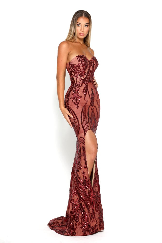 Portia & Scarlett Ruby Red 1755 Sequin Strapless Evening Gown