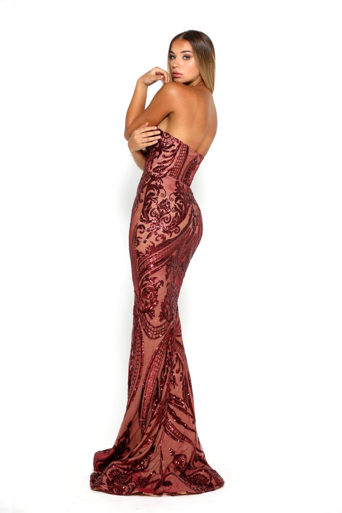 Portia & Scarlett Ruby Red 1755 Sequin Strapless Evening Gown mermaid train