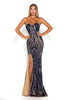 Portia & Scarlett Navy Blue 1755 Sequin Strapless Evening Gown