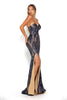 Portia & Scarlett Navy Blue 1755 Sequin Strapless formal dress
