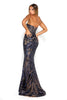 Portia & Scarlett Navy Blue 1755 Sequin Strapless prom dress