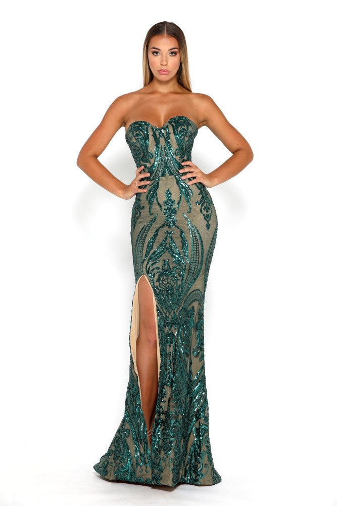 Portia Scarlett Emerald Green 1755 Sequin Strapless Evening Gown