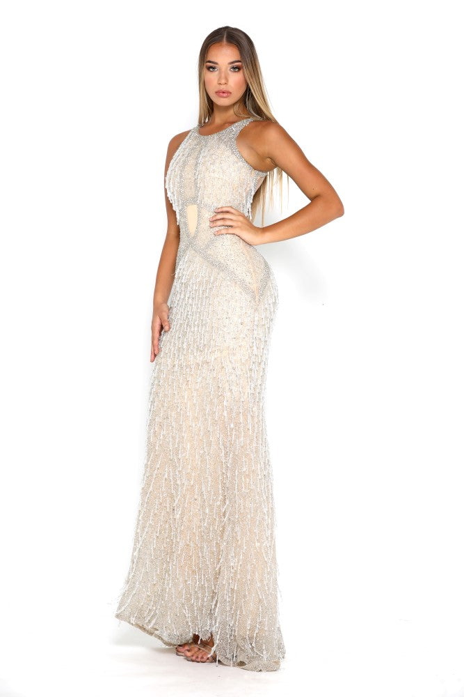 Portia and Scarlett Noelle luxury Beaded flapper style prom dress