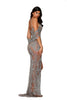 portia and scarlett uk iconic PS4058C SILVER NUDE grecian style crystal embellished evening dress at shaide boutique uk back