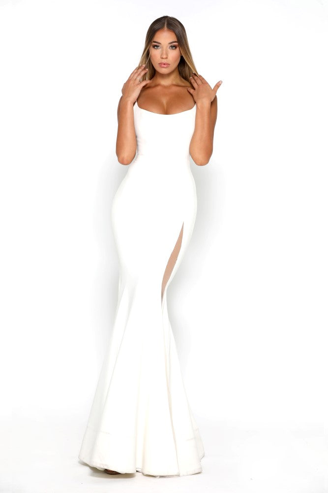 Portia and Scarlett Indira Ivory long sexy bodycon fit prom dress