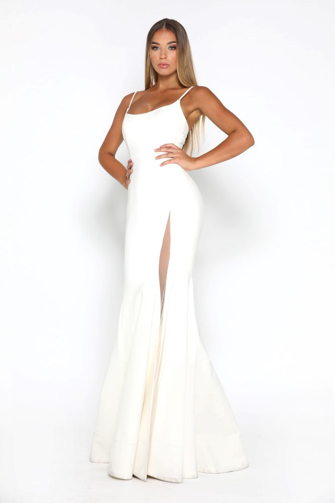 Portia and Scarlett Indira Ivory long sexy bodycon fit bridesmaids dress