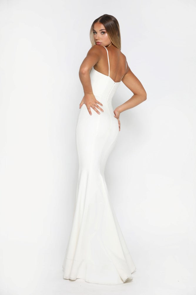 Portia and Scarlett Indira Ivory long sexy bodycon fit graduation dress