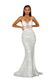 Portia & Scarlett PS5003 - EZE silver long mesh evening dress at shaide boutique uk