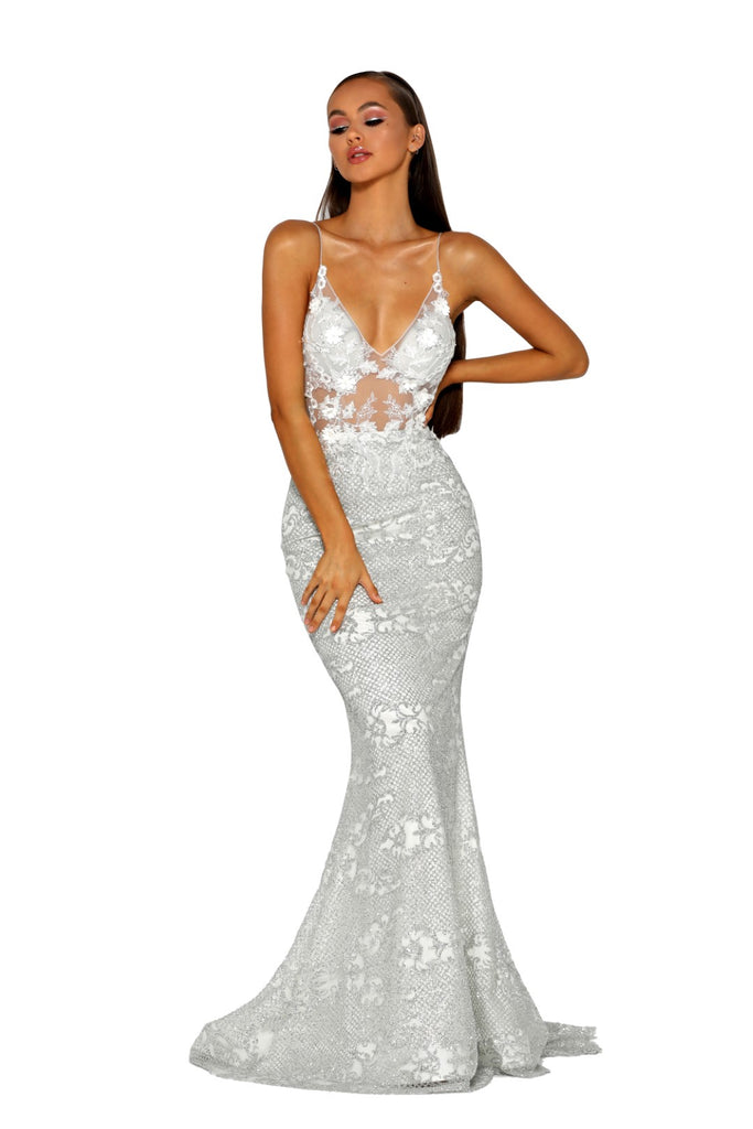 Portia & Scarlett PS5003 - EZE silver long mesh evening dress at shaide boutique uk front