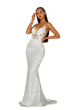 Portia & Scarlett PS5003 - EZE silver long mesh evening dress at shaide boutique uk side