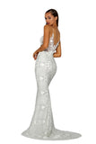 Portia & Scarlett PS5003 - EZE silver long mesh evening dress at shaide boutique uk back