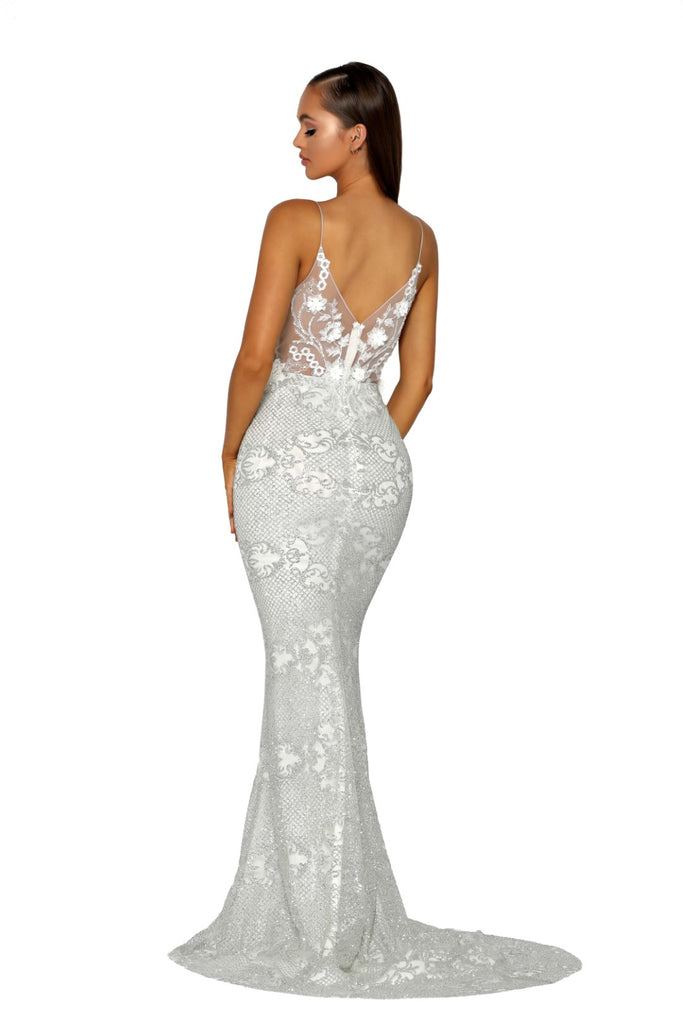 Portia & Scarlett PS5003 - EZE silver long mesh evening dress at shaide boutique uk back view