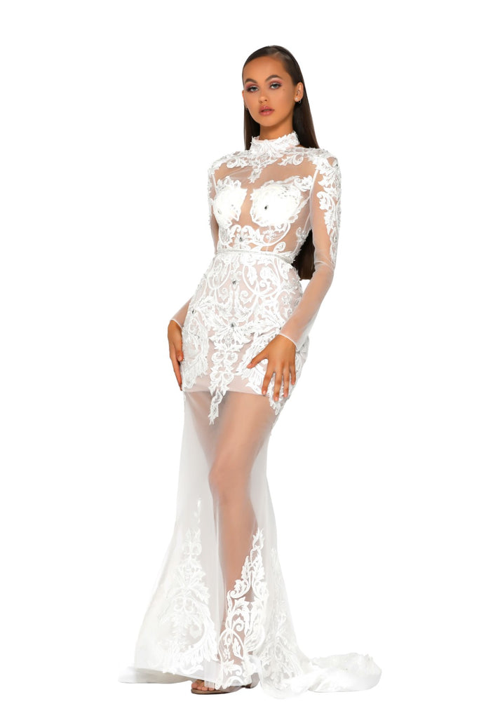 Portia & Scarlett PS5005 - ST BARTHS white black tie red carpet evening gown from shaide boutique uk london front
