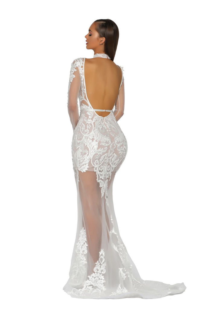 Portia & Scarlett PS5005 - ST BARTHS white black tie red carpet evening gown from shaide boutique uk london back