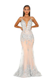 portia and scarlett ps5005 monaco ville nude silver black tie prom dress at shaide boutique uk