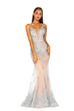 portia and scarlett ps5005 monaco ville nude silver black tie prom dress at shaide boutique uk front