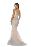 portia and scarlett ps5005 monaco ville nude silver black tie prom dress at shaide boutique uk back