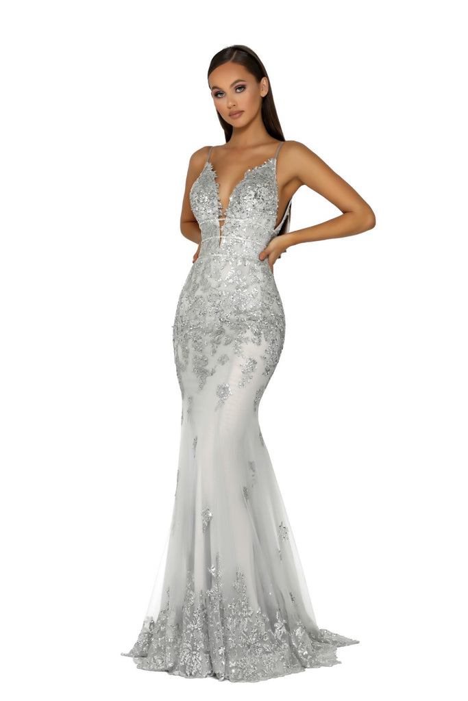 portia and scarlett ps5005 silver evening gown at shaide boutique uk prom side