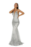 portia and scarlett ps5005 silver evening gown at shaide boutique uk prom front
