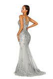 portia and scarlett ps5005 silver evening gown at shaide boutique uk prom side view