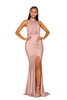 Portia & Scarlett PS5007 RICH - Blush allessandra rich inspired choke black tie prom dress from shaide boutique uk