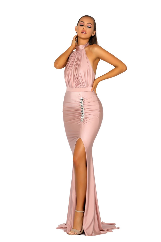Portia & Scarlett PS5007 RICH - Blush allessandra rich inspired choke black tie prom dress from shaide boutique uk front