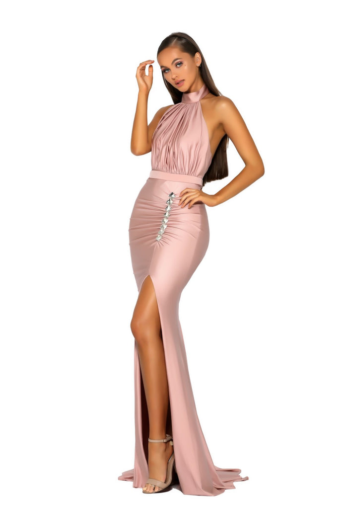 Portia & Scarlett PS5007 RICH - Blush allessandra rich inspired choke black tie prom dress from shaide boutique uk side
