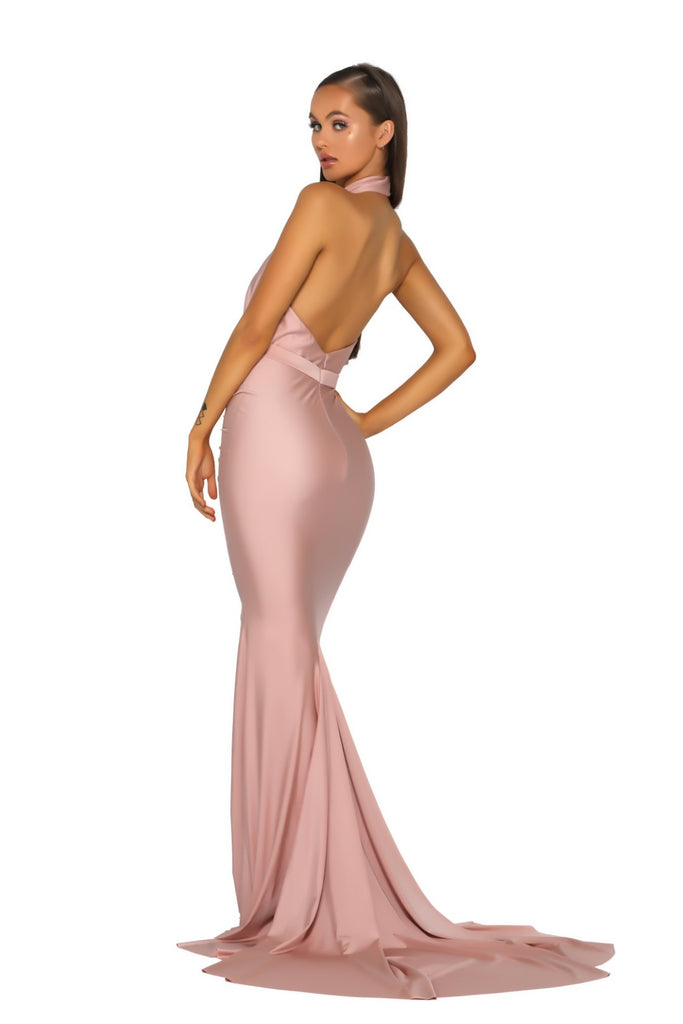 Portia & Scarlett PS5007 RICH - Blush allessandra rich inspired choke black tie prom dress from shaide boutique uk back view