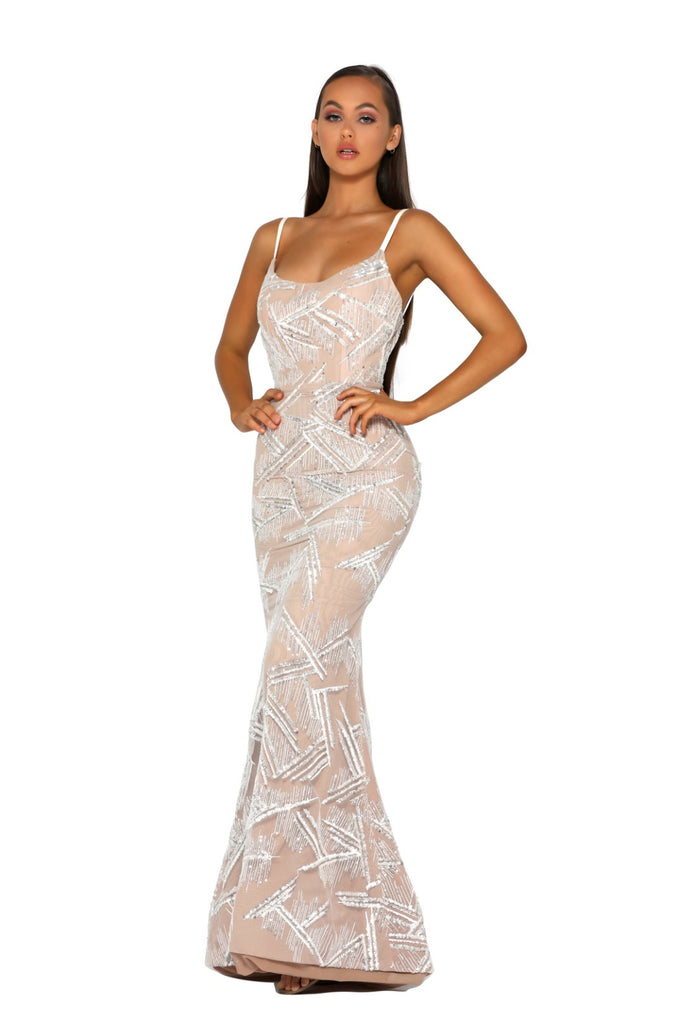 Portia & Scarlett PS5008 - CAPRI nude beaded crsyal prom dress from shaide boutique uk front