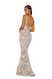Portia & Scarlett PS5008 - CAPRI nude beaded crsyal prom dress from shaide boutique uk