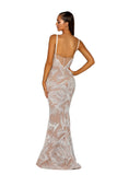 Portia & Scarlett PS5008 - CAPRI nude beaded crsyal prom dress from shaide boutique uk back