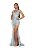Portia & Scarlett PS5010 - PORTOFINO blue floral embroidered black tie prom dress at shaide boutique uk front