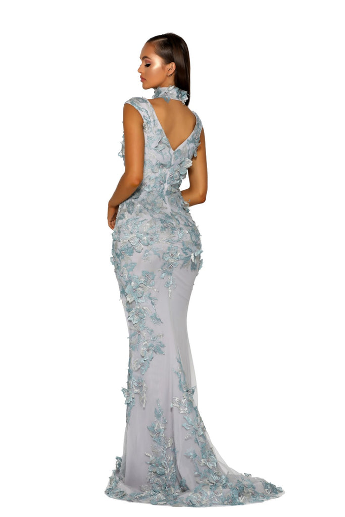 Portia & Scarlett PS5010 - PORTOFINO blue floral embroidered black tie prom dress at shaide boutique uk back