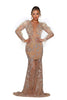 portia and scarlett uk floorlength nude evening dress with ostrich feathers at shaide boutique uk next day delivery