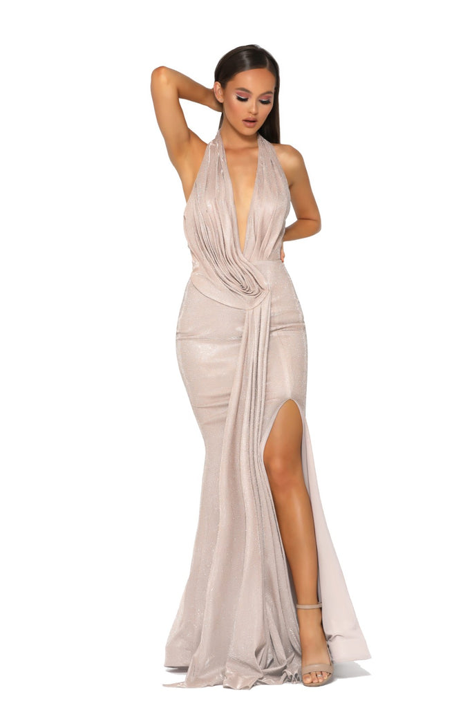 Portia & Scarlett Nala - PS5041 GOLD grecian style black tie evening dress at shaide boutique uk next day delivery front