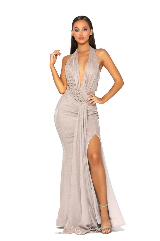 Portia & Scarlett Nala - PS5041 GOLD grecian style black tie evening dress at shaide boutique uk next day delivery