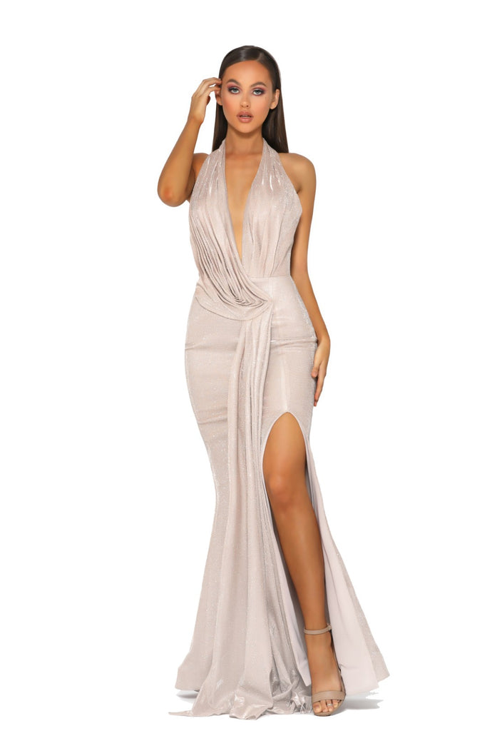 Portia & Scarlett Nala - PS5041 GOLD grecian style black tie evening dress at shaide boutique uk next day delivery front view