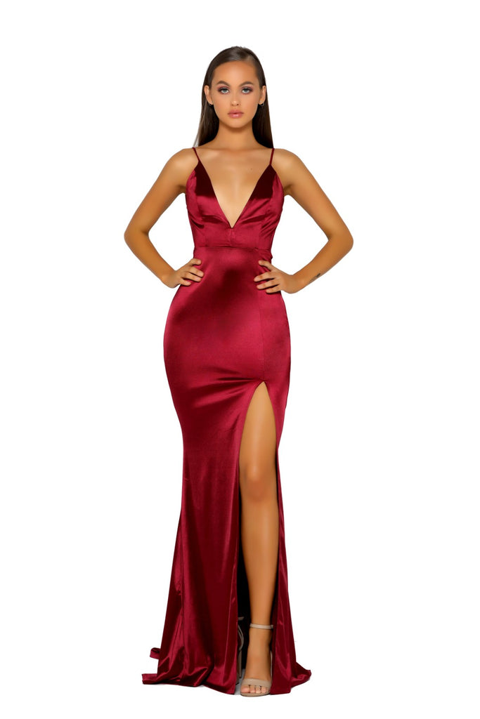 Portia & Scarlett PS5050 - MOUGINS RED sexy backless black tie prom dress at shaide boutique uk