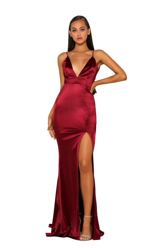 Portia & Scarlett PS5050 - MOUGINS RED sexy backless black tie prom dress at shaide boutique uk front