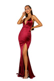 Portia & Scarlett PS5050 - MOUGINS RED sexy backless black tie prom dress at shaide boutique uk side