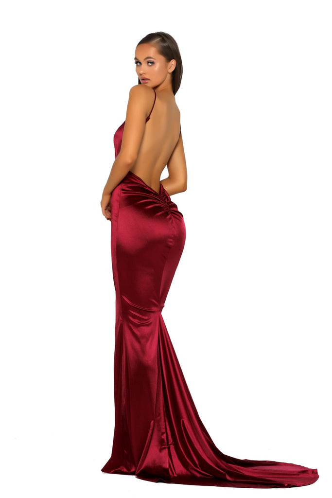 Portia & Scarlett PS5050 - MOUGINS RED sexy backless black tie prom dress at shaide boutique uk back